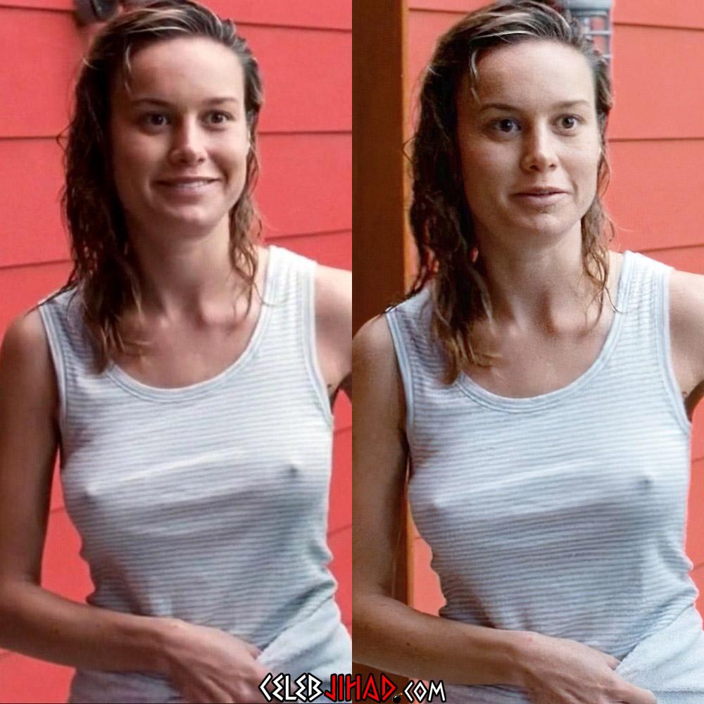 Brie Larson nipples pokies